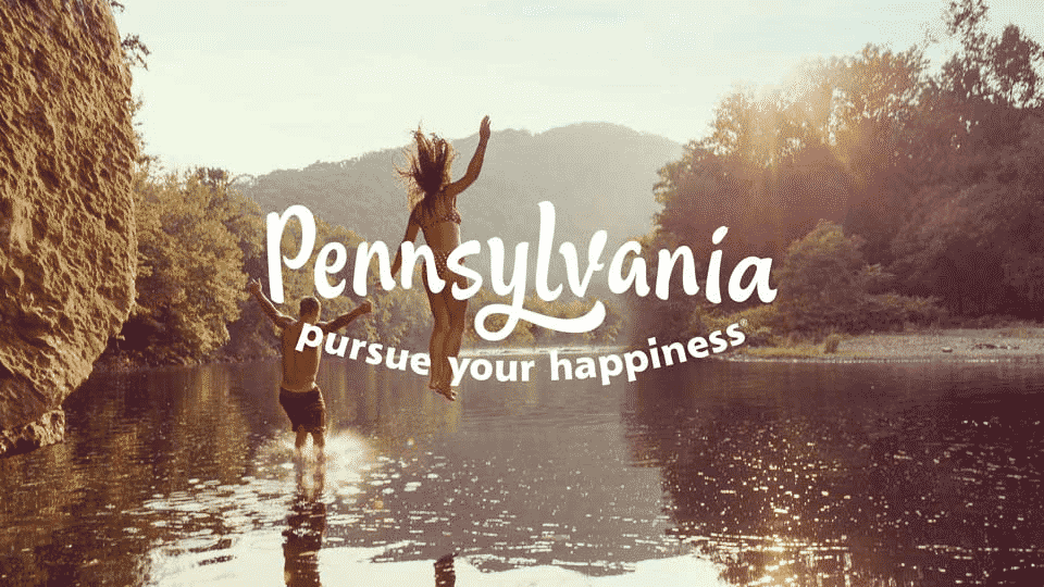 Pennsylvania pursue your happiness written on top image of man and women falling into a pond feet first at sunset. Representing Rapid Detox in Pennsylvania page