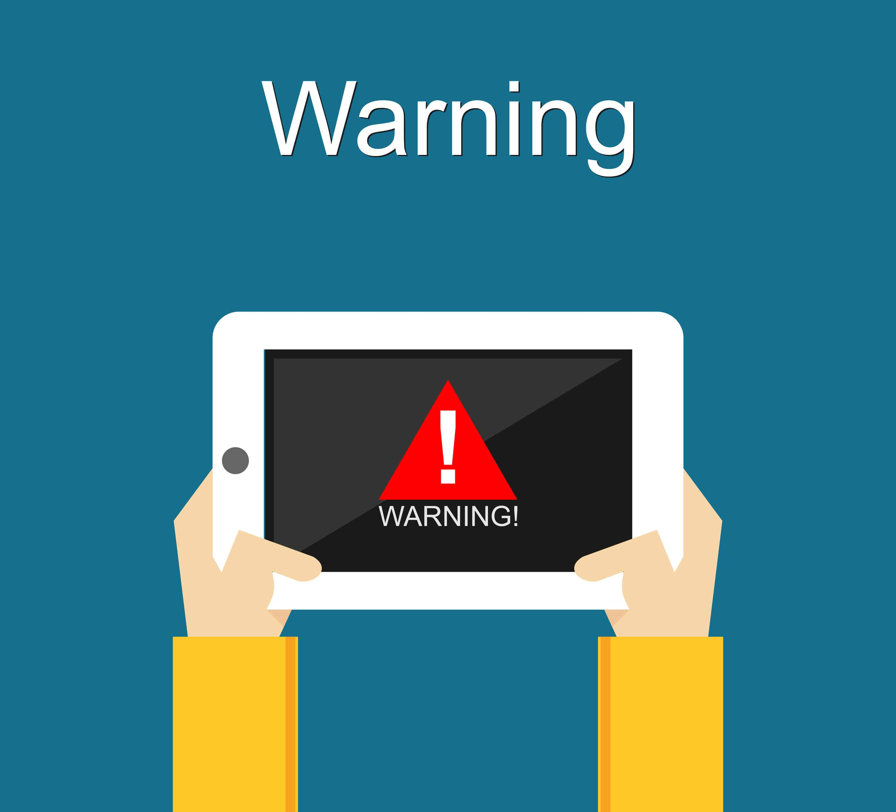 Drawing of hands holding ipad with warning sign to illustrate ultram warnings