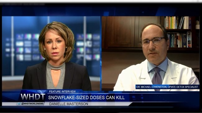 Screenshot of WHDT Interview with Dr. Lowenstein on dangers of carfentanil