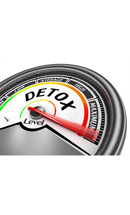 Rapid drug detox showm by detox level meter turned up to the maximum